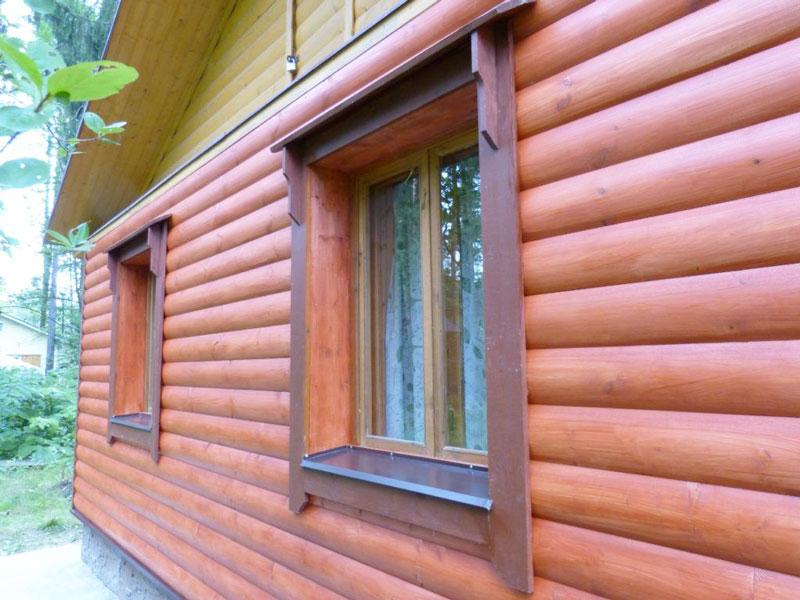Фасад дома отделать имитатор бревна