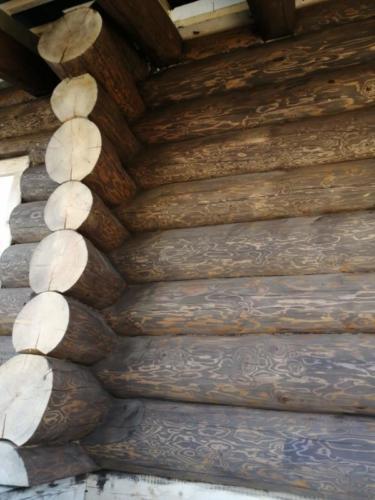 okr sr8 - Окрашивание сруба дома в Ленинградской области